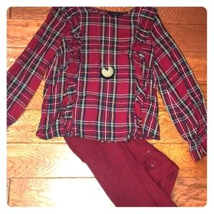 Holiday plaid blouse